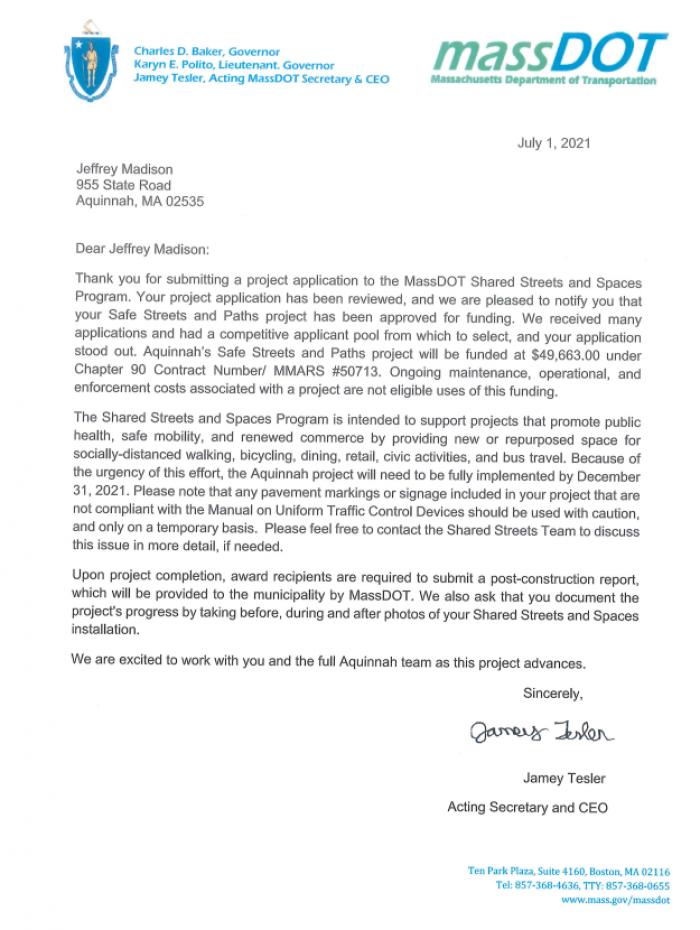 mass dot grant letter